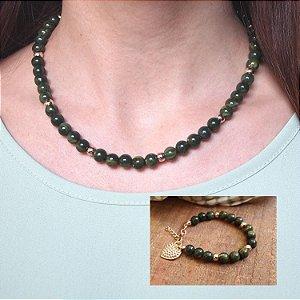 Composição 2 produtos (Colar verde e pulseira)