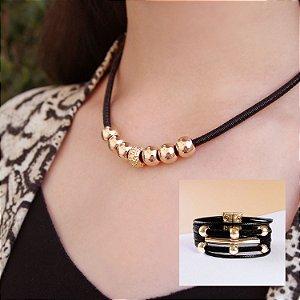 Composição 2 produtos (Colar preto e bracelete)