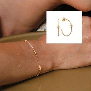 Composição 2 produtos (Brinco nó e pulseira)