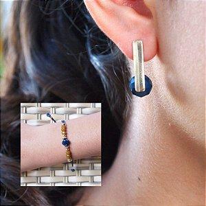 Composição 2 produtos (Brinco Cristal Azul e pulseira)