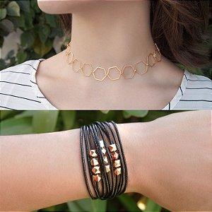 Composição 2 produtos (Choker e pulseira preta com ímã) folheada a ouro 18K