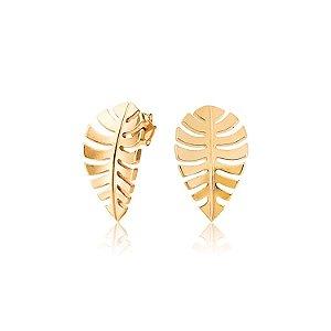 Brinco folha estilizada folheado a ouro 18K hipoalergênico