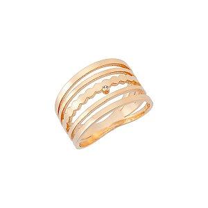 Anel zircônia design vazado folheado a ouro 18K hipoalergênico