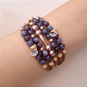 Pulseira bracelete couro feminina cristais rosa e pérolas rosé folheada a ouro 18K hipoalergênico