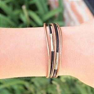 Pulseira de couro feminina bronze e black detalhes folheada a ouro 18K hipoalergênico