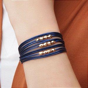Pulseira de couro feminina fio azul marinho detalhes facetados folheada a ouro 18K hipoalergênico
