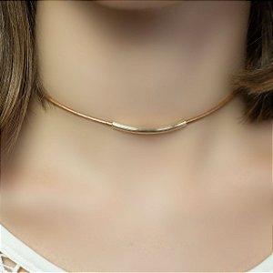 Colar de couro feminino choker bronze folheado a ouro 18K hipoalergênico