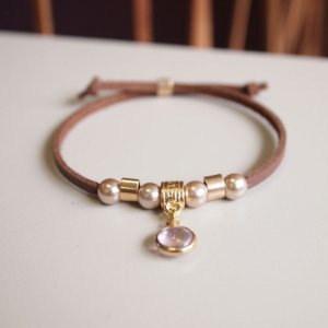 Pulseira de couro feminina cristal rosa pingente regulável camurça marrom folheada a ouro 18K hipoalergênico