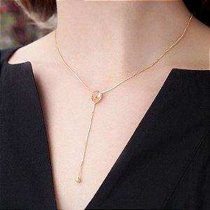 Colar cristal peach folheado a ouro 18K hipoalergênico