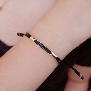 Pulseira de couro feminina fio regulável black folheada a ouro 18K hipoalergênico