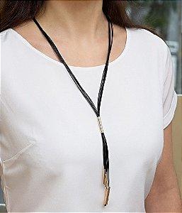 Colar de couro feminino fios longo black regulável folheado a ouro 18K hipoalergênico