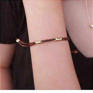 Pulseira de couro feminina fio regulável marrom folheada a ouro 18K hipoalergênico