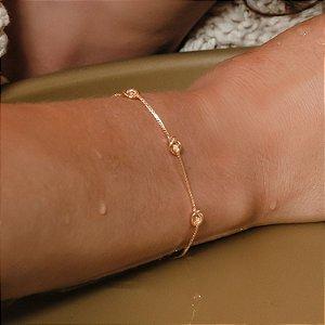 Pulseira nós folheada a ouro 18K hipoalergênico