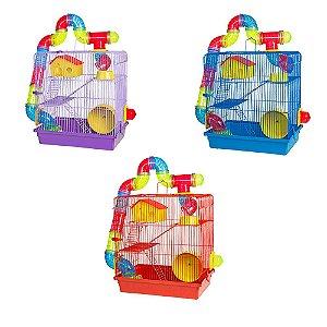 Gaiola Hamster 3 Andares Tubo Luxo 3 Cores