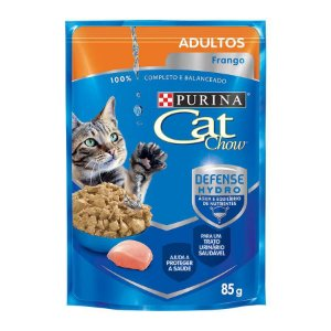 Ração Úmida Nestlé Purina Cat Chow para Gatos Adultos Castrados - Sachê com Frango ao Molho 85g