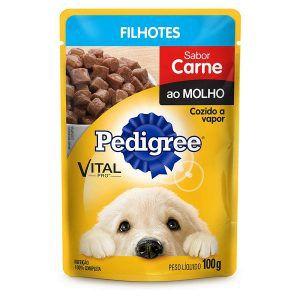 Ração Úmida - Carne ao Molho - Para Cães Filhotes Pedigree Sachê 100g