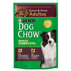 Ração Úmida Nestlé Purina Dog Chow Sachê de Carne e Arroz - Para Cães Adultos 100g