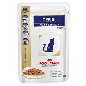 Ração Royal Canin - Sachê Feline Veterinary Diet Renal Frango - Para Gatos com Doença Nos Rins 85g
