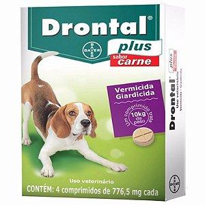 Vermífugo Bayer Drontal Plus - Sabor Carne - Para Cães Até 10Kg – 4 Com.