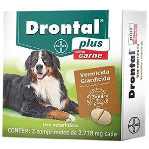 Vermífugo Bayer Drontal - Plus Sabor Carne - Para Cães Até 35Kg - 2 Com.