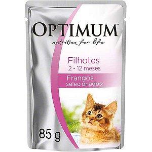 Ração Úmida Optimum - Sachê Frango - Para Gatos Filhotes 85g