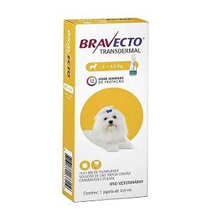 Bravecto Antipulgas e Carrapatos Transdermal para Cães entre 2 a 4,5KG - 112,5MG