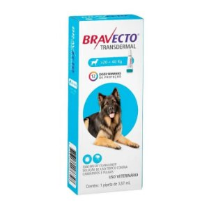 Bravecto Antipulgas e Carrapatos Transdermal para Cães entre 20 a 40KG - 1000MG