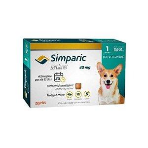 Simparic Antipulgas 40mg - Para Cães de 10 a 20Kg