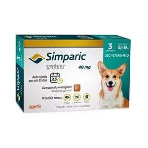 Simparic Antipulgas 40mg - Para Cães de 10 a 20Kg - 3 Com