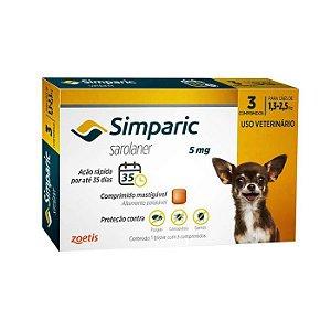 Simparic Antipulgas 5mg - Para Cães de 1,3 a 2,5Kg - 3 Com.