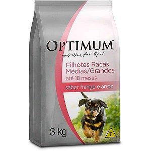 Ração Optimum - Frango e Arroz - Para Cães Filhotes Raças Médias e Grandes - 3kg