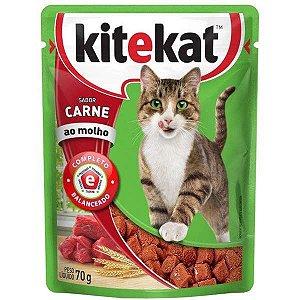 Ração Úmida Kitekat - Sachê de Carne para Gatos Adultos - 70g