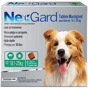 Antipulgas e Carrapatos NexGard - Para Cães de Raças Grandes de 10,1 a 25Kg - 1 Tablete