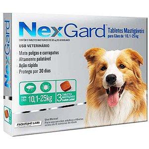 Antipulgas e Carrapatos NexGard - Para Cães de Raças Grandes de 10,1 a 25Kg - 3 Tabletes
