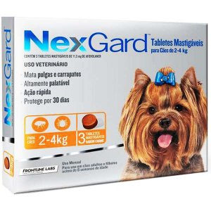 Antipulgas e Carrapatos NexGard - Para Cães de Raças Pequenas de 2 a 4Kg - 3 Tabletes