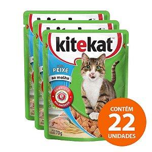 Ração Úmida Kitekat - Sachê de Peixe para Gatos Adultos 70g - Kit com 22 Unidades