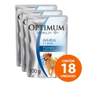 Ração Úmida Optimum - Sachê de  Frango - Para Cães Adultos de Raças Grande 100g - Kit com 18 Unidades