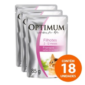 Ração Úmida Optimum - Sachê Frango - Para Gatos Filhotes 85g - Kit com 18 Unidades