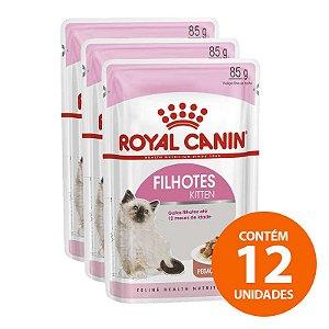 Ração Úmida Royal Canin - Sachê Feline Kitten Instinctive - Para Gatos Filhotes com Ate 12 Meses 85g - Kit com 12 Unidades