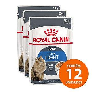 Ração Úmida Royal Canin - Sachê Feline Ultra Light - Para Gatos Adultos 85g - Kit com 12 Unidades