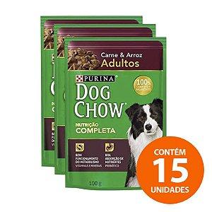 Ração Úmida Nestlé Purina Dog Chow Sachê de Carne e Arroz Para Cães Adultos 100g - Kit com 15 Unidades