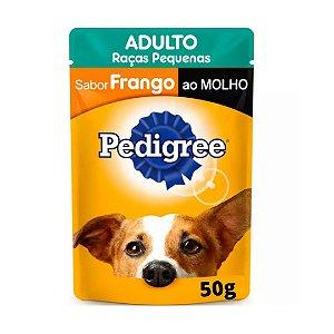 Ração Úmida Pedigree de Frango ao Molho em sachê de 50g - Para Cães Adultos de raças Pequenas