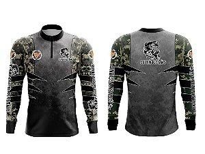 Camisa Manga Comprida Seven Fishing com Estampa Camuflada Digital - Gola com Ziper