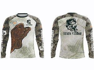 Camisa de Pesca Manga Comprida Seven Fishing com Estampa Traíra - Gola Careca