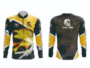Camisa de Pesca Manga Comprida Seven Fishing Dourado Rio - Gola com Ziper