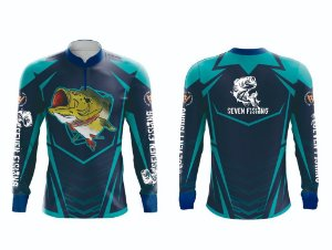 Camisa de Pesca Manga Comprida Azul Escuro Seven Fishing Tucunaré - Gola com Ziper