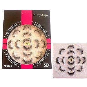 Cílios Postiços Profissional 5D C/7 Pares - Ruby Anjo - RA-043