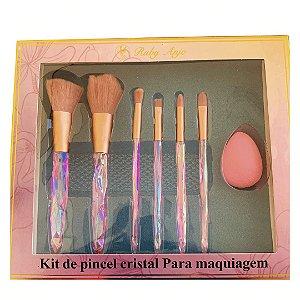 Kit de Pincel Cristal Pink + Esponja - WL - RA028