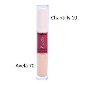 Corretivo e Contorno Duo Sculpt Feels Ruby Rose HB-8101 - Chantilly 10 e Avelã 70
