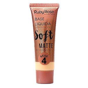 Base Líquida Soft Matte Bege Cor B04  Ruby Rose -  Hb-8050